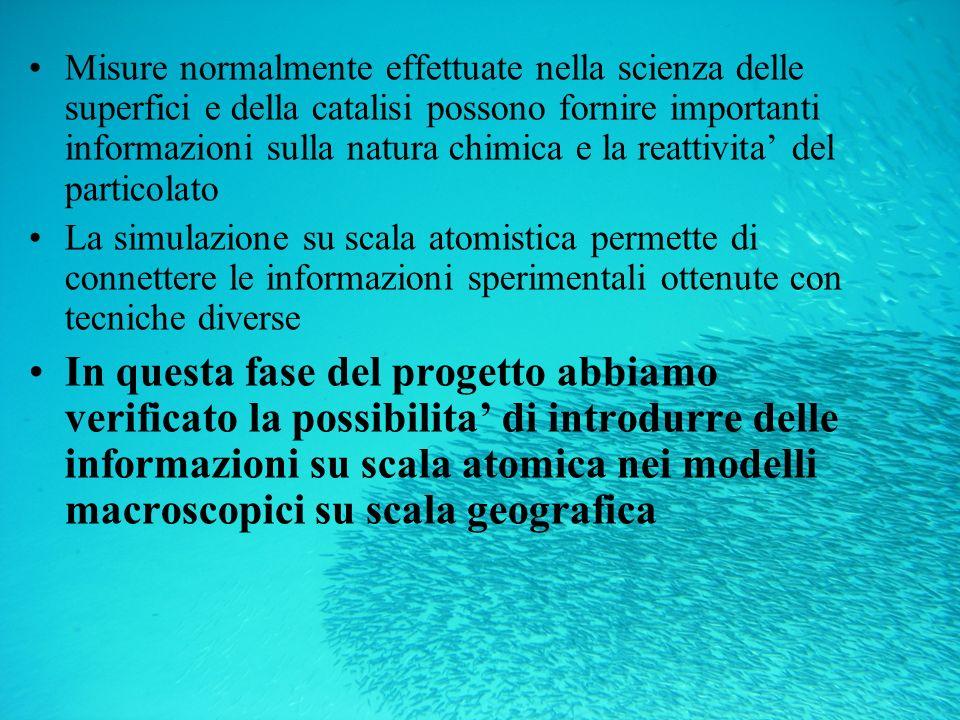 Misure normalmente effettuate nella scienza delle superfici e della catalisi possono fornire importanti informazioni sulla natura chimica e la reattivita' del particolato