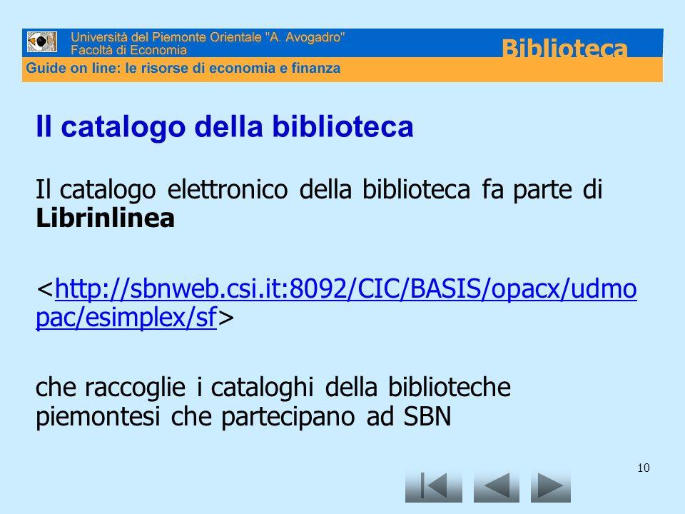 Il catalogo della biblioteca