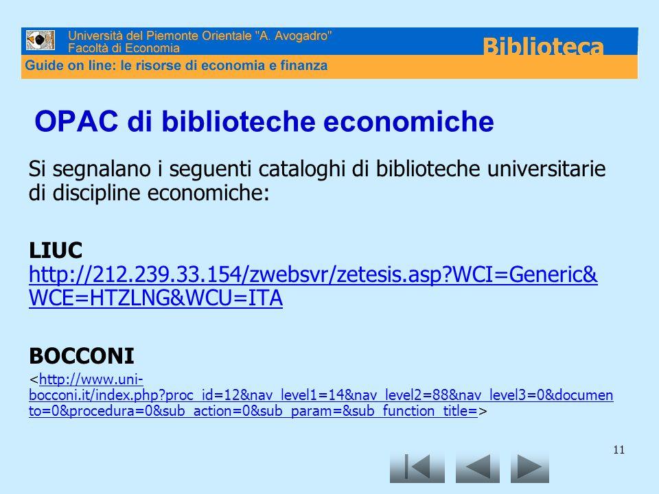 OPAC di biblioteche economiche