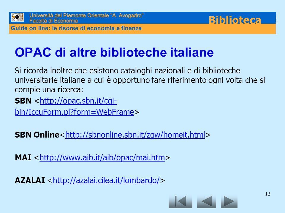 OPAC di altre biblioteche italiane