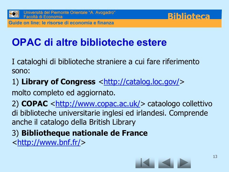 OPAC di altre biblioteche estere