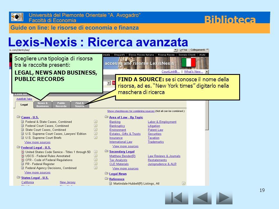 Lexis-Nexis : Ricerca avanzata