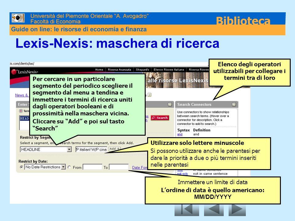 Lexis-Nexis: maschera di ricerca