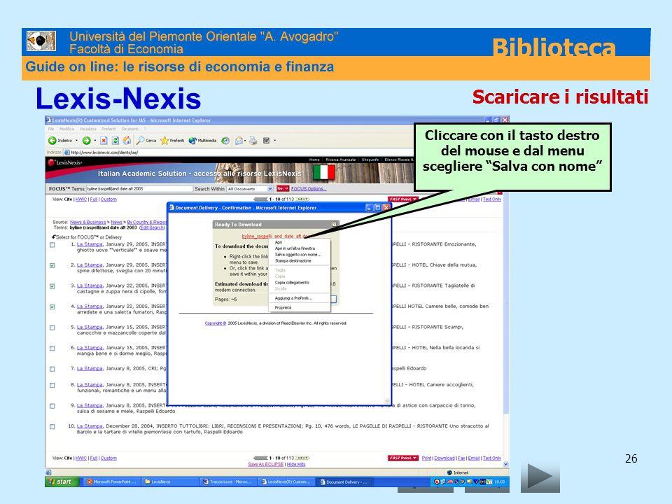 Lexis-Nexis Scaricare i risultati