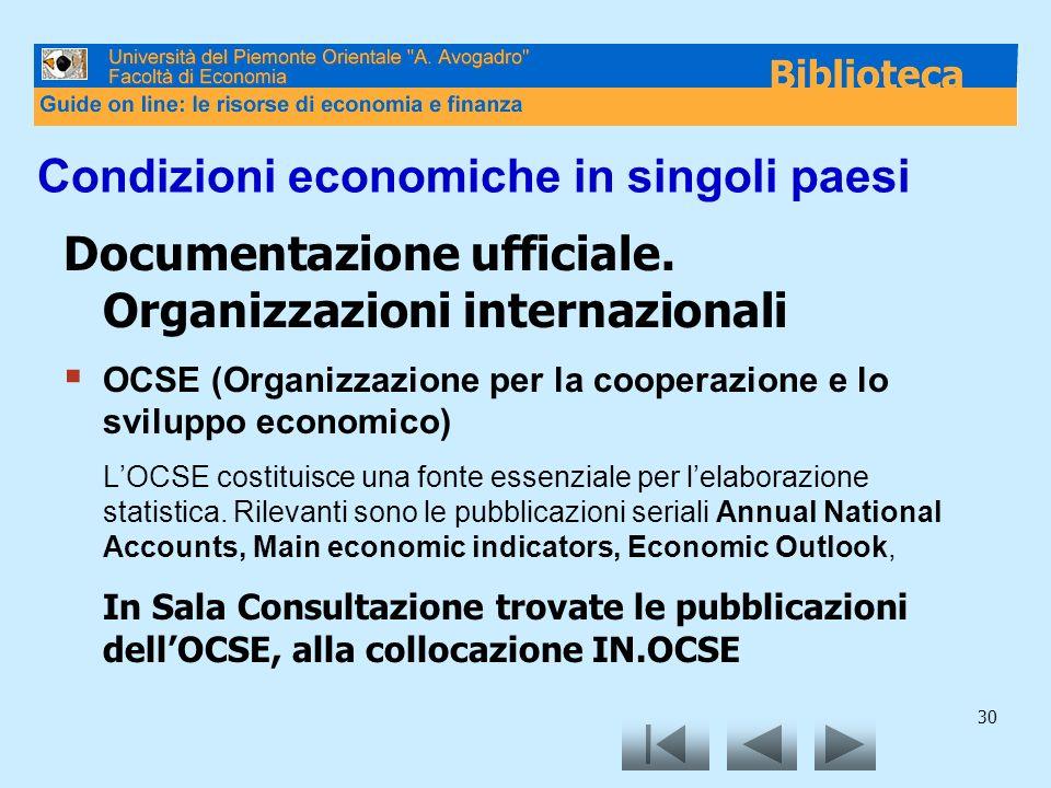 Condizioni economiche in singoli paesi