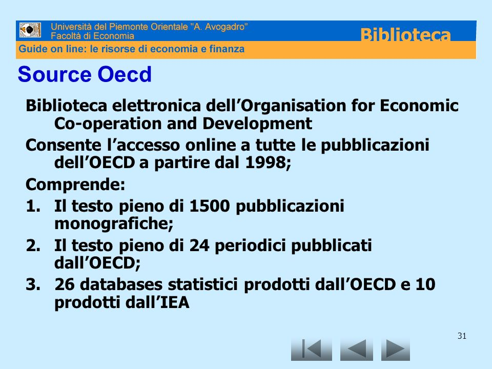 Source Oecd Biblioteca elettronica dell'Organisation for Economic Co-operation and Development.