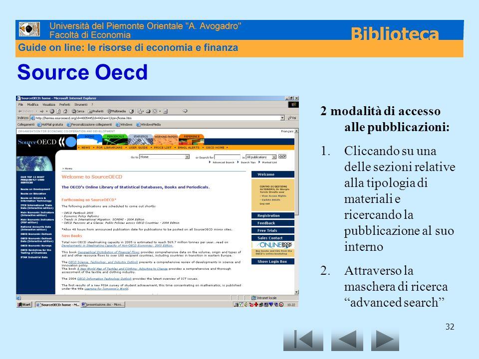 Source Oecd 2 modalità di accesso alle pubblicazioni: