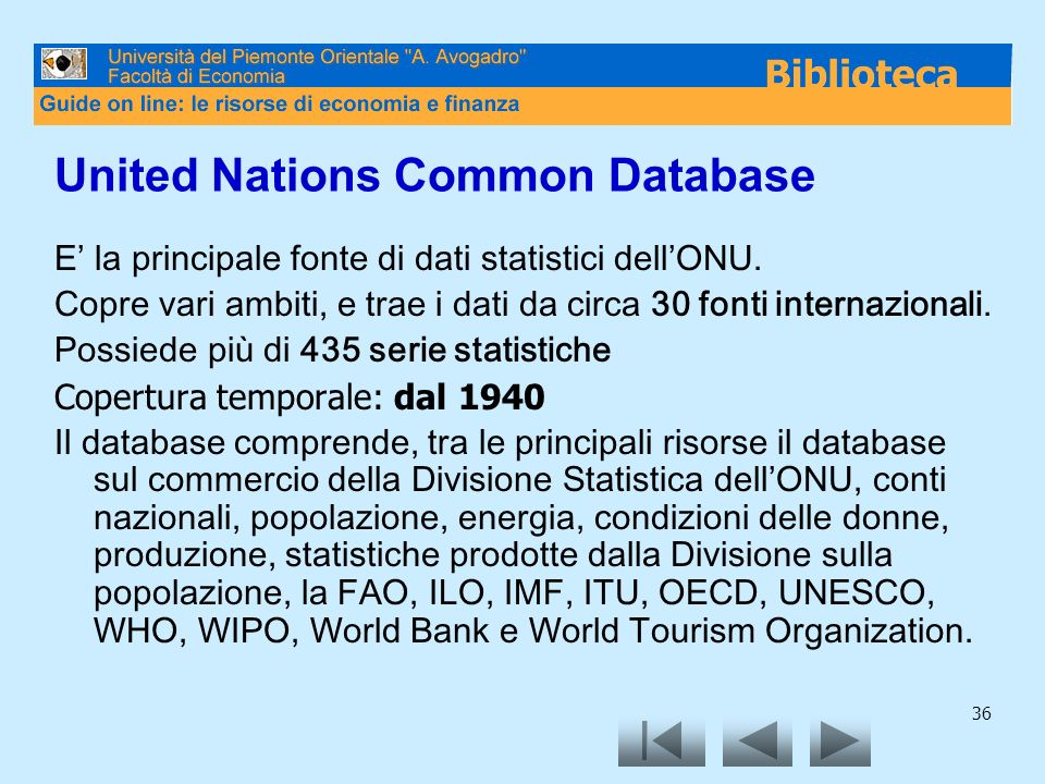 United Nations Common Database