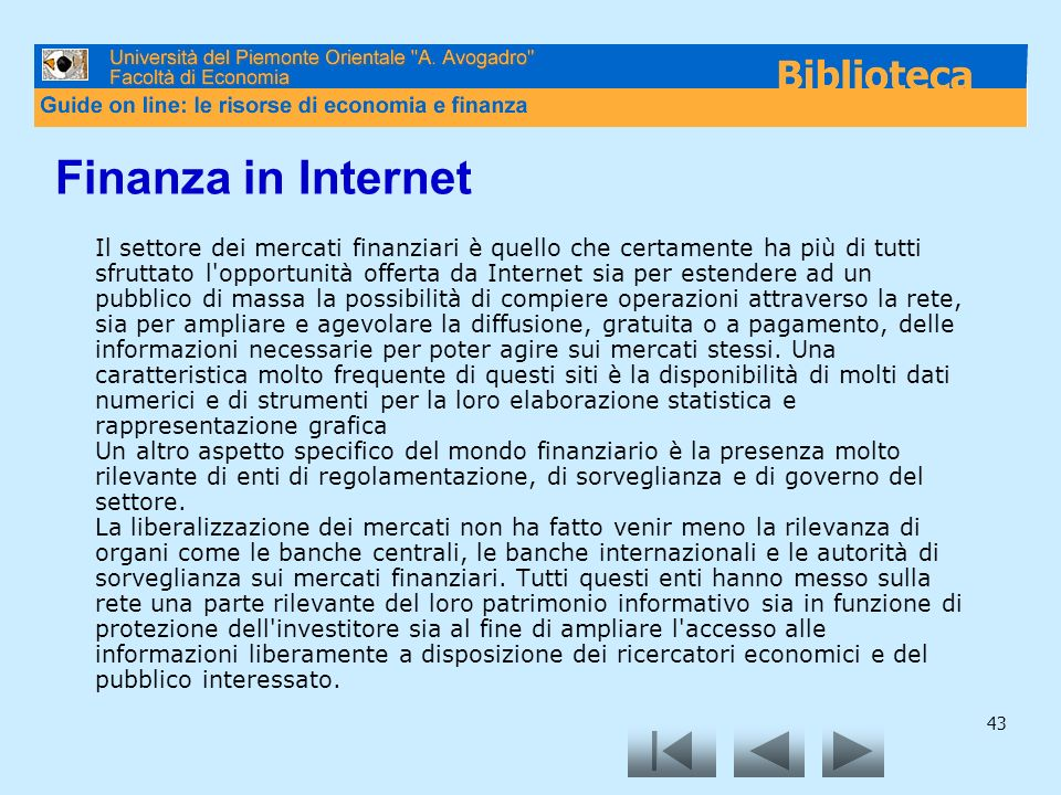 Finanza in Internet