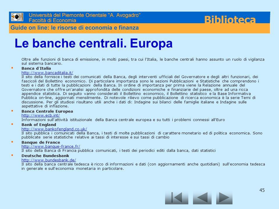 Le banche centrali. Europa