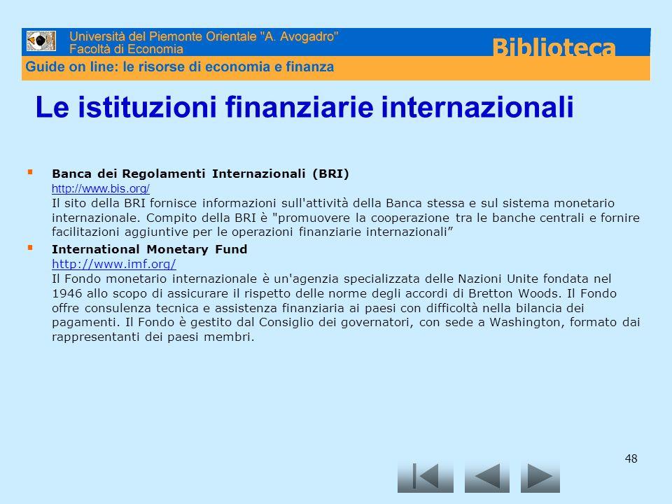 Le istituzioni finanziarie internazionali