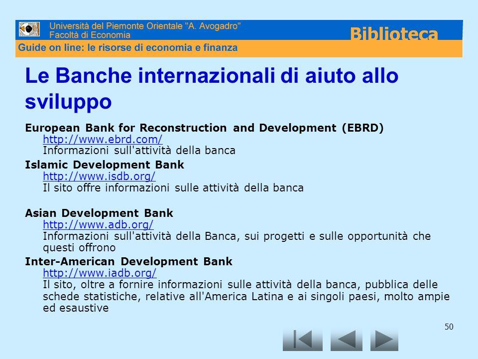 Le Banche internazionali di aiuto allo sviluppo