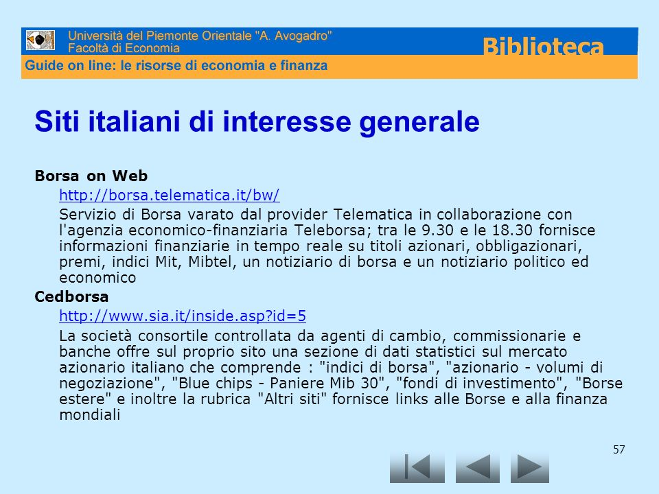 Siti italiani di interesse generale