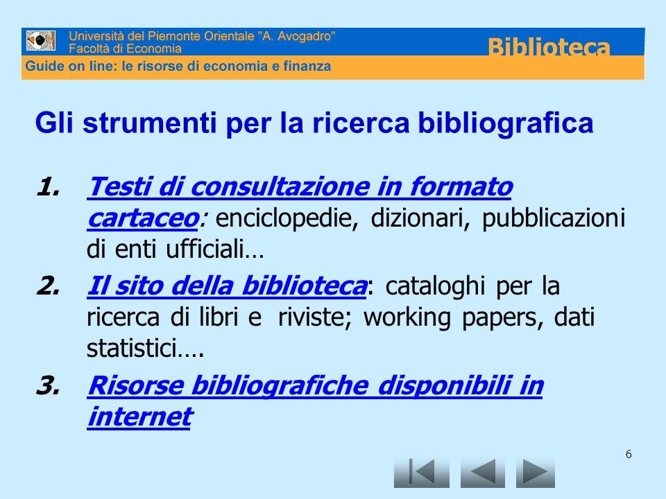 Gli strumenti per la ricerca bibliografica