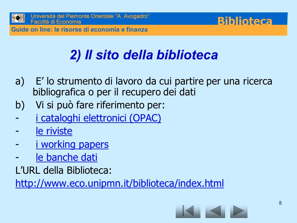 2) Il sito della biblioteca