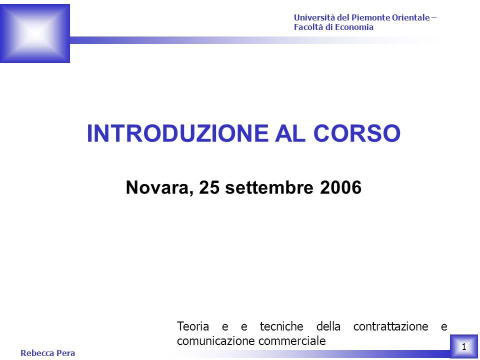 INTRODUZIONE AL CORSO Novara, 25 settembre 2006