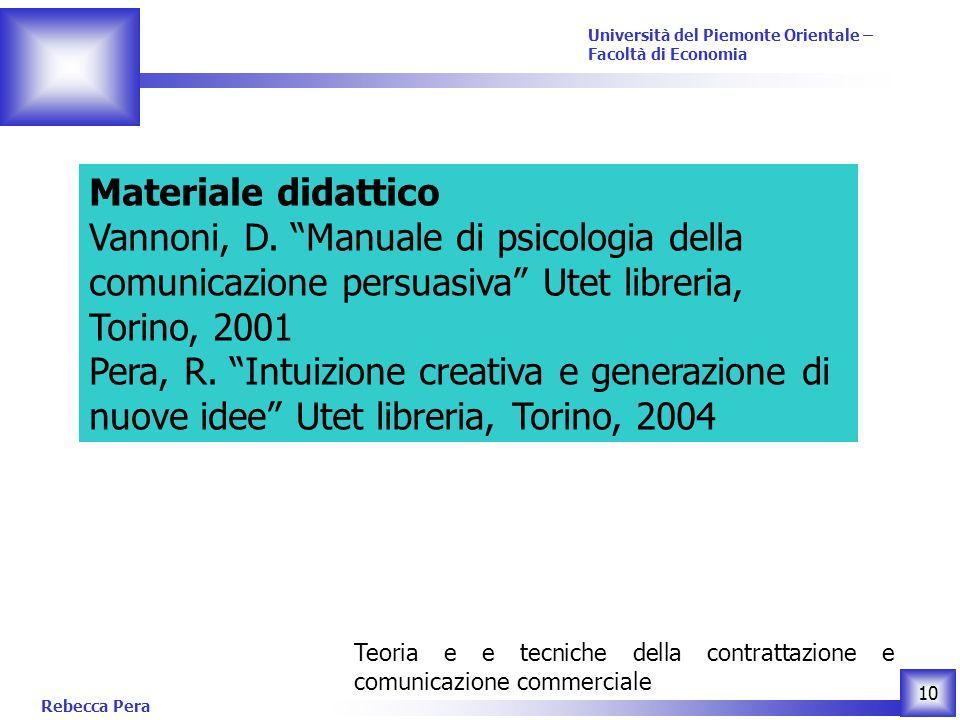 Materiale didattico Vannoni, D. Manuale di psicologia della comunicazione persuasiva Utet libreria, Torino, 2001.
