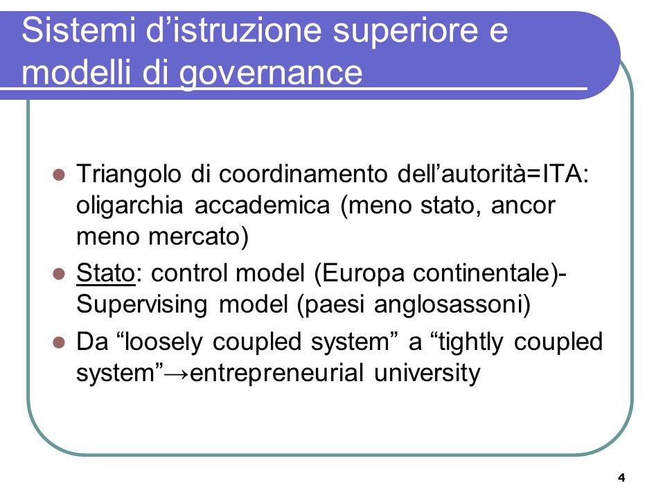 Sistemi d'istruzione superiore e modelli di governance