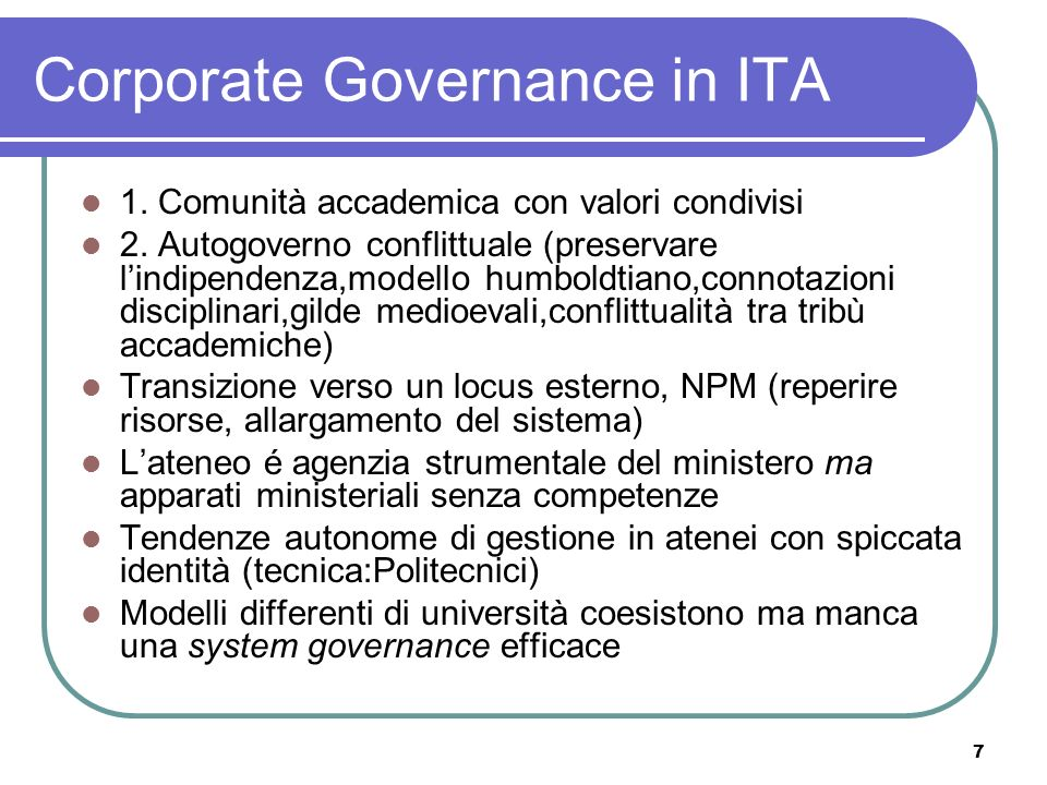 Corporate Governance in ITA
