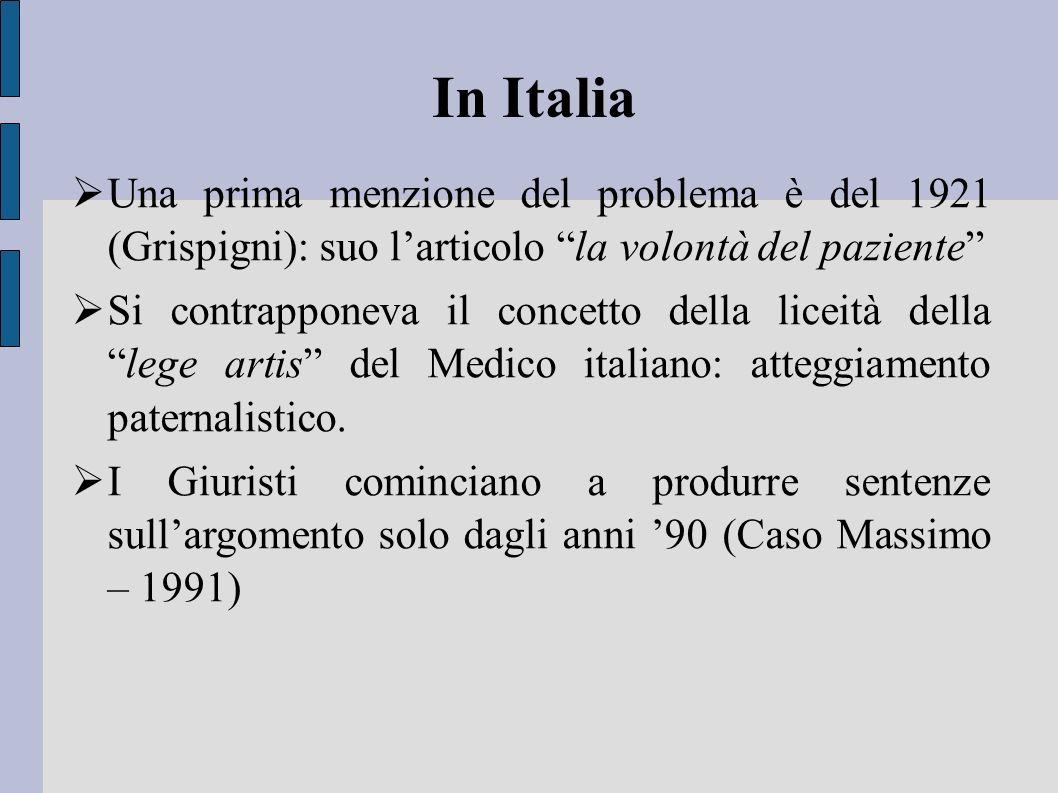 In Italia Una prima menzione del problema è del 1921 (Grispigni): suo l'articolo la volontà del paziente