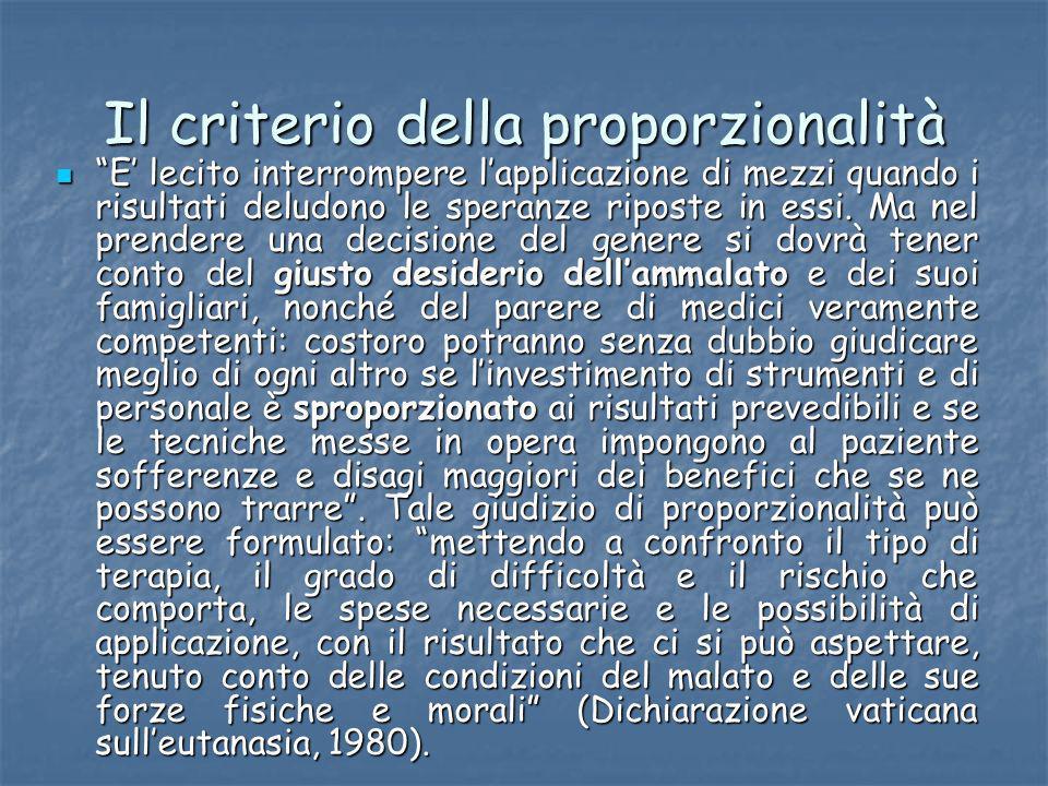 Il criterio della proporzionalità