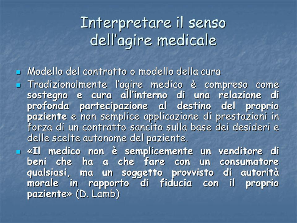 Interpretare il senso dell'agire medicale