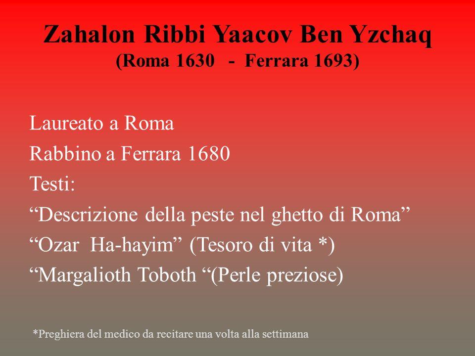 Zahalon Ribbi Yaacov Ben Yzchaq (Roma 1630 - Ferrara 1693)