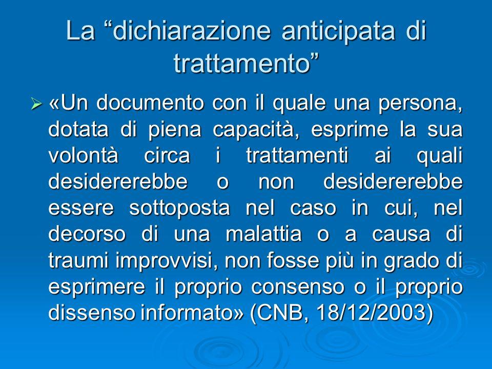 La dichiarazione anticipata di trattamento