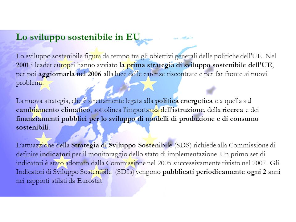 Lo sviluppo sostenibile in EU