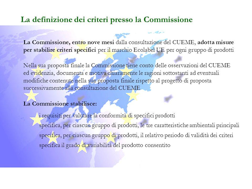 La definizione dei criteri presso la Commissione