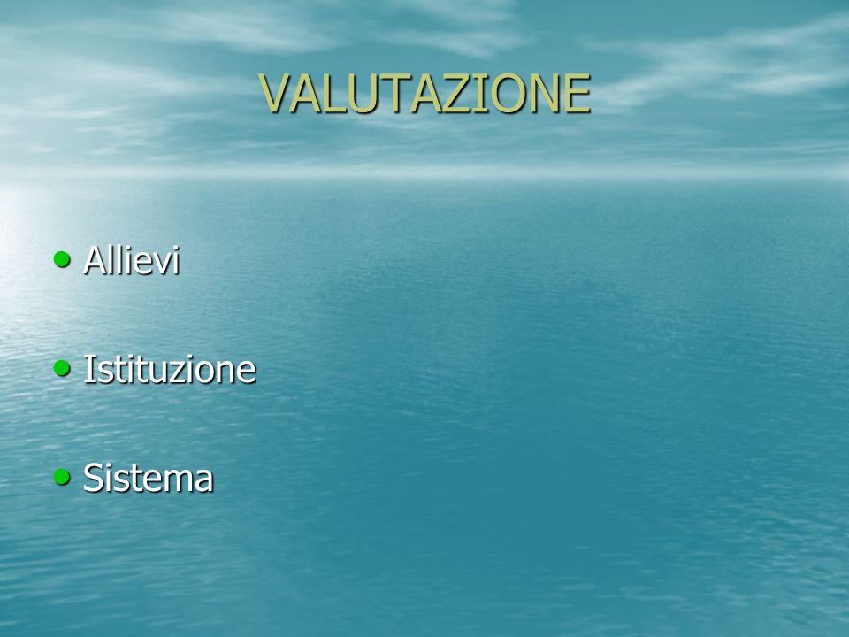 VALUTAZIONE Allievi Istituzione Sistema