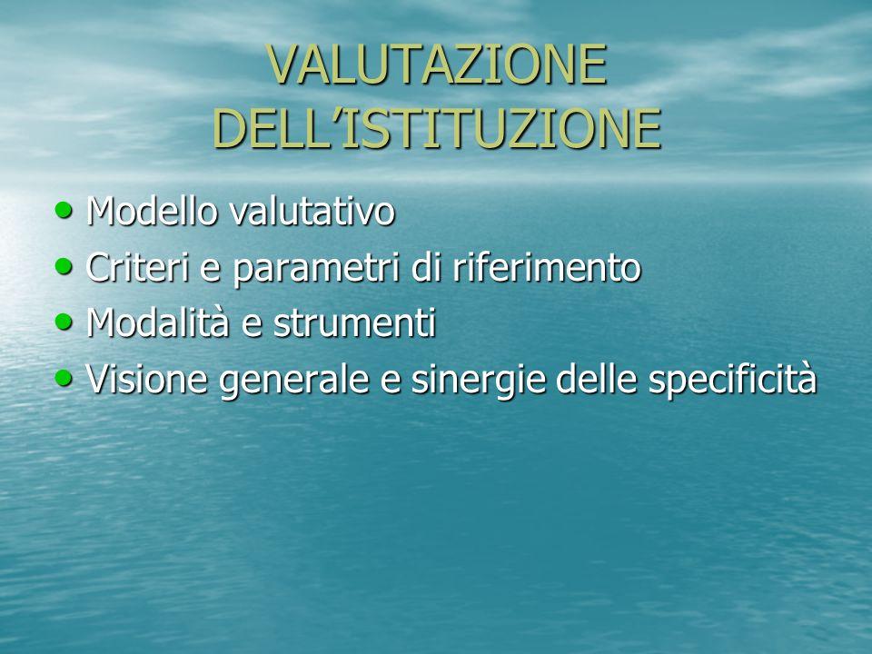 VALUTAZIONE DELL'ISTITUZIONE