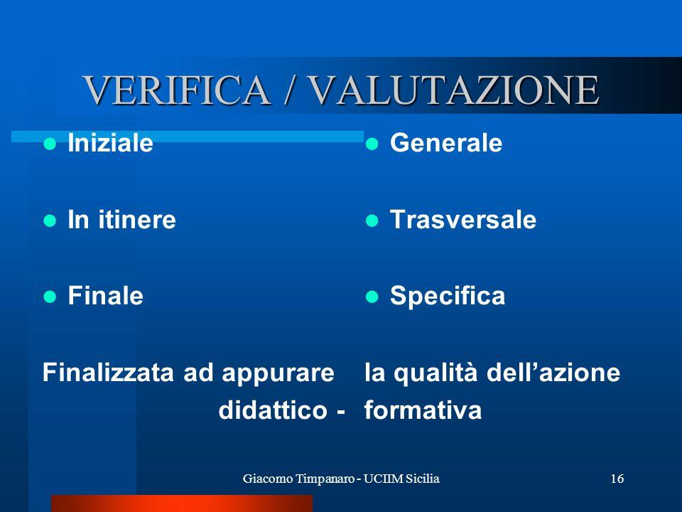 VERIFICA / VALUTAZIONE