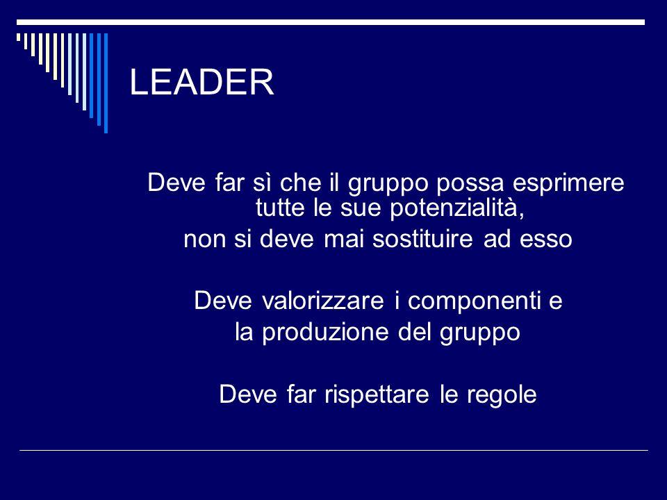 LEADER non si deve mai sostituire ad esso