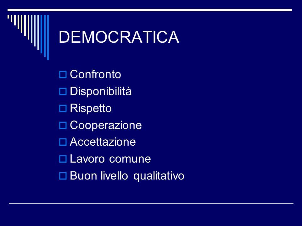 DEMOCRATICA Confronto Disponibilità Rispetto Cooperazione Accettazione