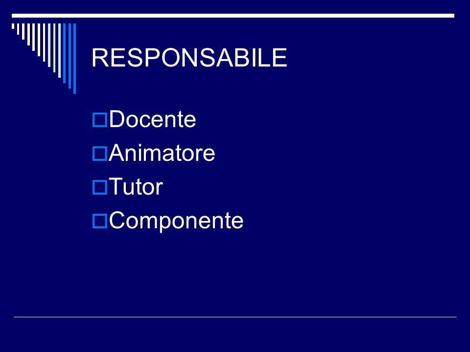 RESPONSABILE Docente Animatore Tutor Componente