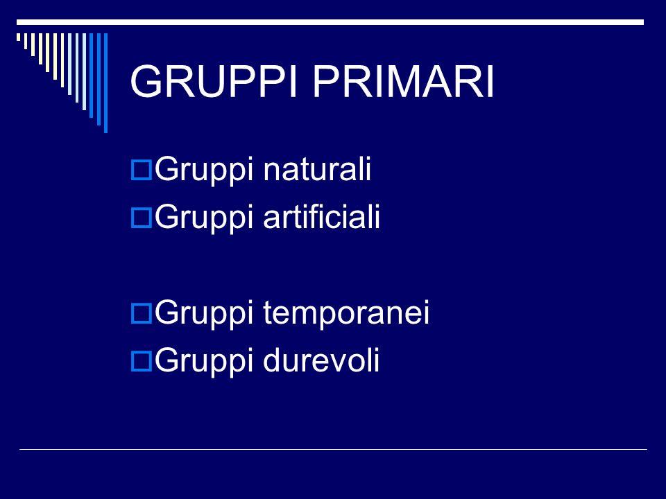 GRUPPI PRIMARI Gruppi naturali Gruppi artificiali Gruppi temporanei