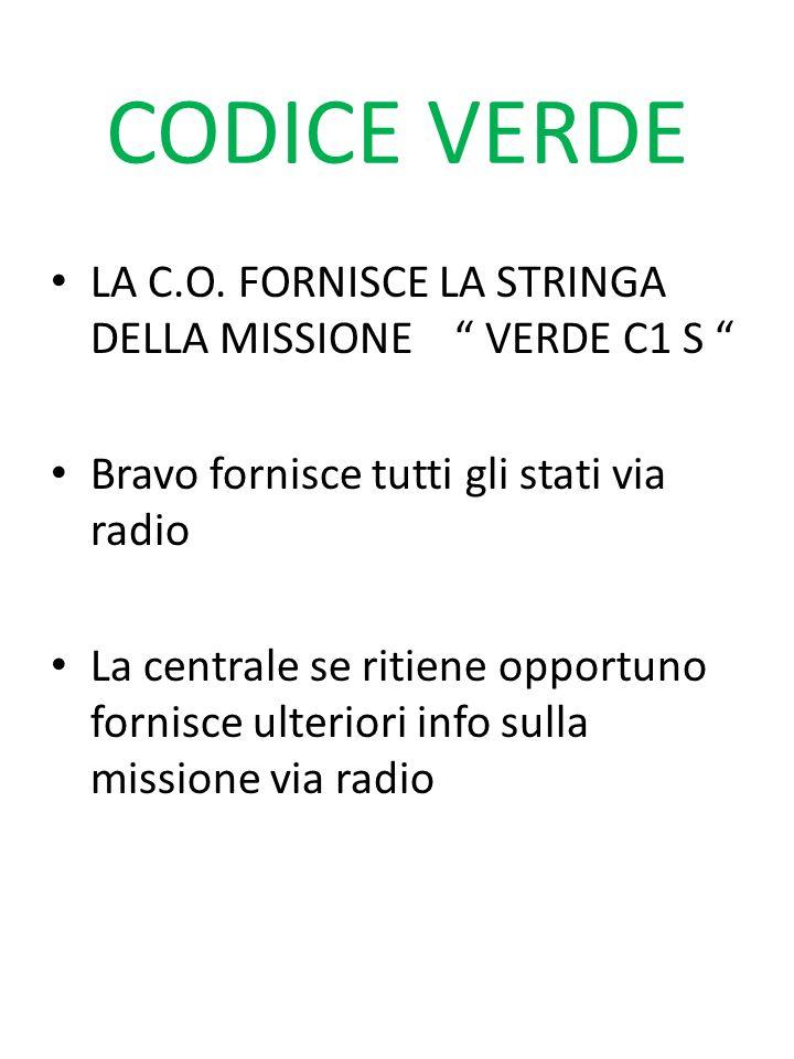 CODICE VERDE LA C.O. FORNISCE LA STRINGA DELLA MISSIONE VERDE C1 S