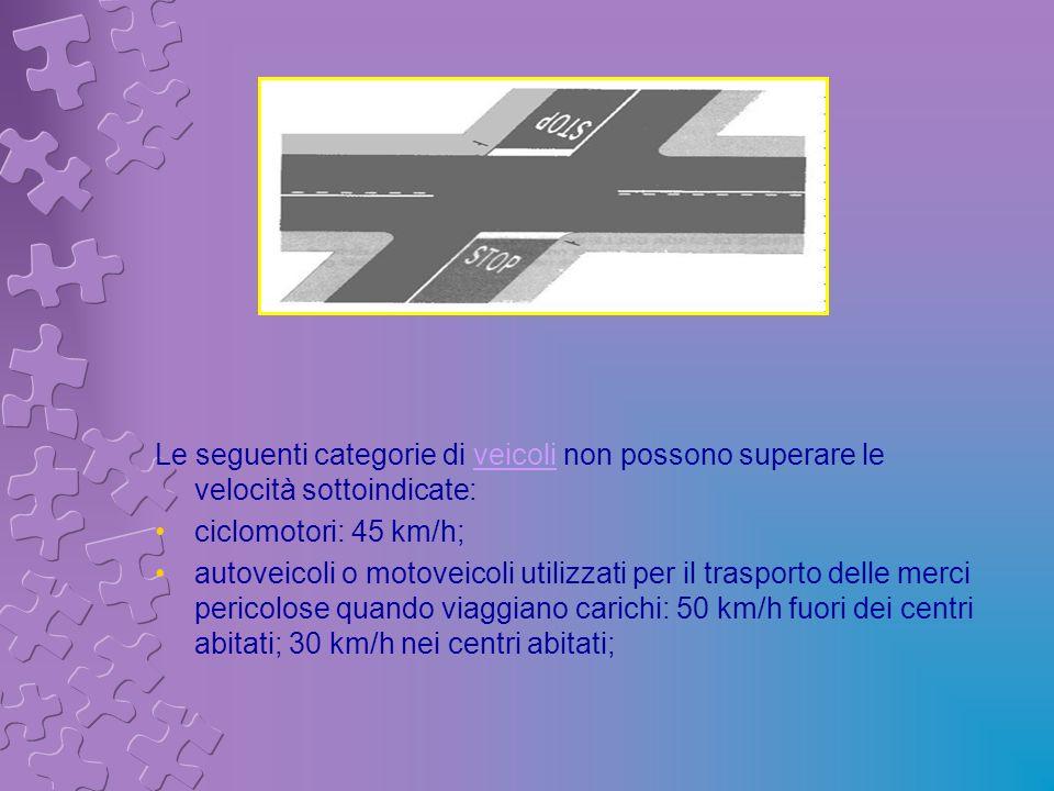 Le seguenti categorie di veicoli non possono superare le velocità sottoindicate: