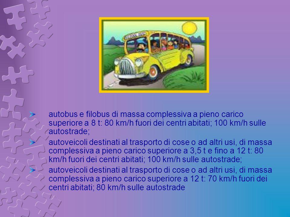 autobus e filobus di massa complessiva a pieno carico superiore a 8 t: 80 km/h fuori dei centri abitati; 100 km/h sulle autostrade;