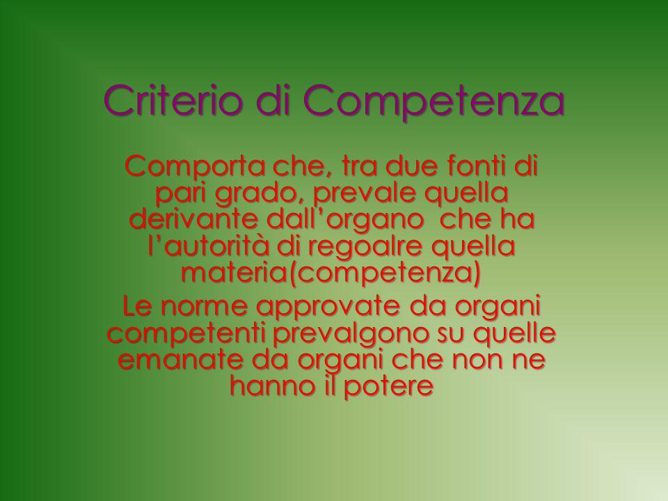 Criterio di Competenza