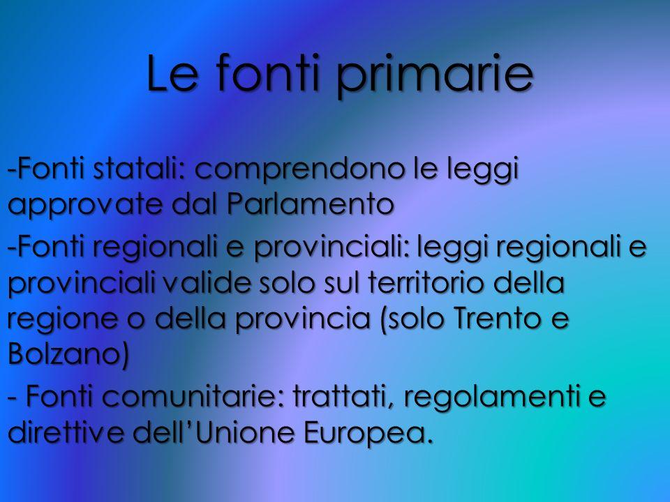 Le fonti primarie Fonti statali: comprendono le leggi approvate dal Parlamento.