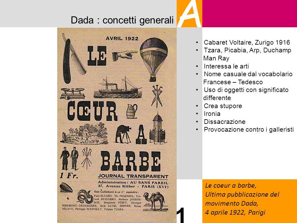 A 1 Dada : concetti generali Le coeur a barbe,