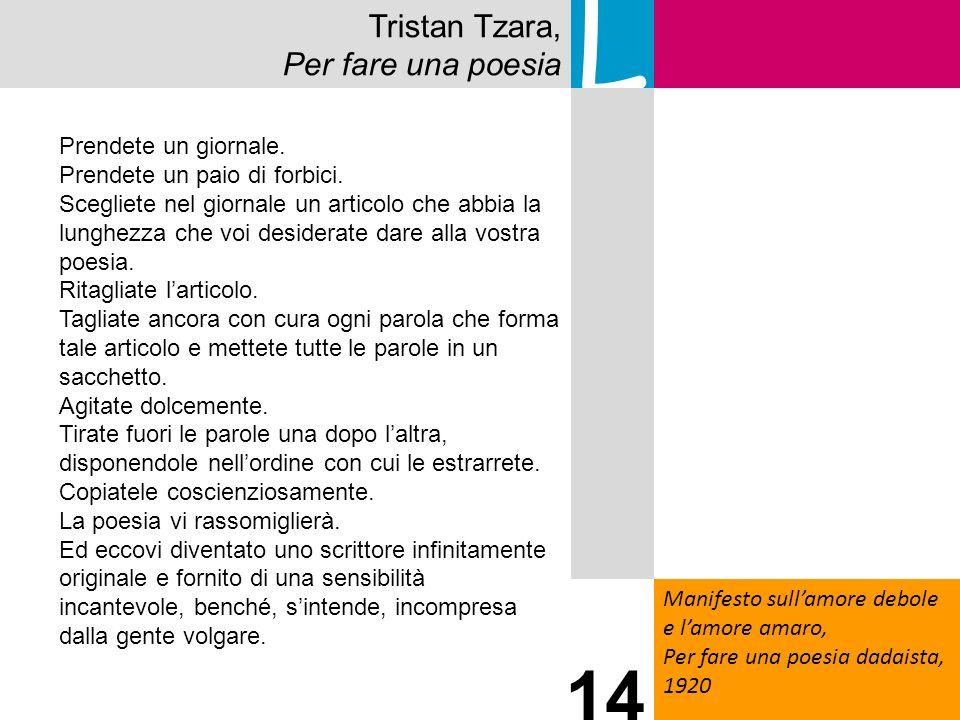 L 14 Tristan Tzara, Per fare una poesia