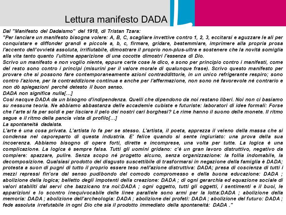 L Lettura manifesto DADA