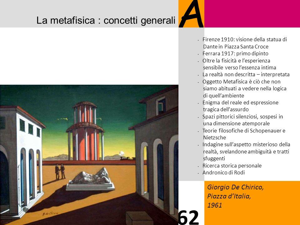 A 62 La metafisica : concetti generali Giorgio De Chirico,
