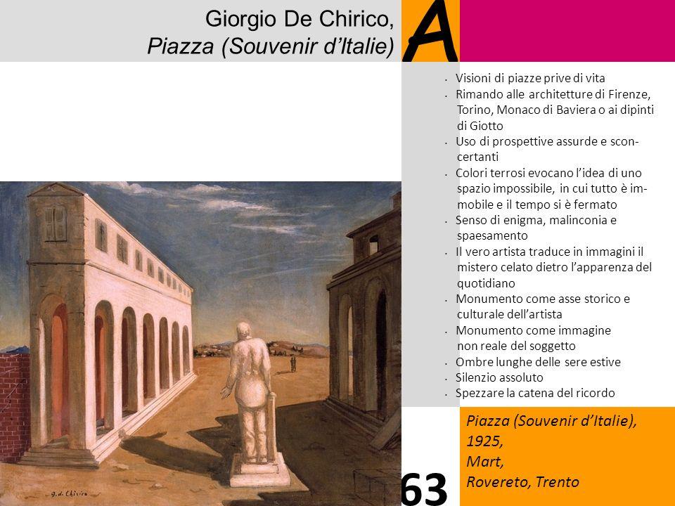 A 63 Giorgio De Chirico, Piazza (Souvenir d'Italie)