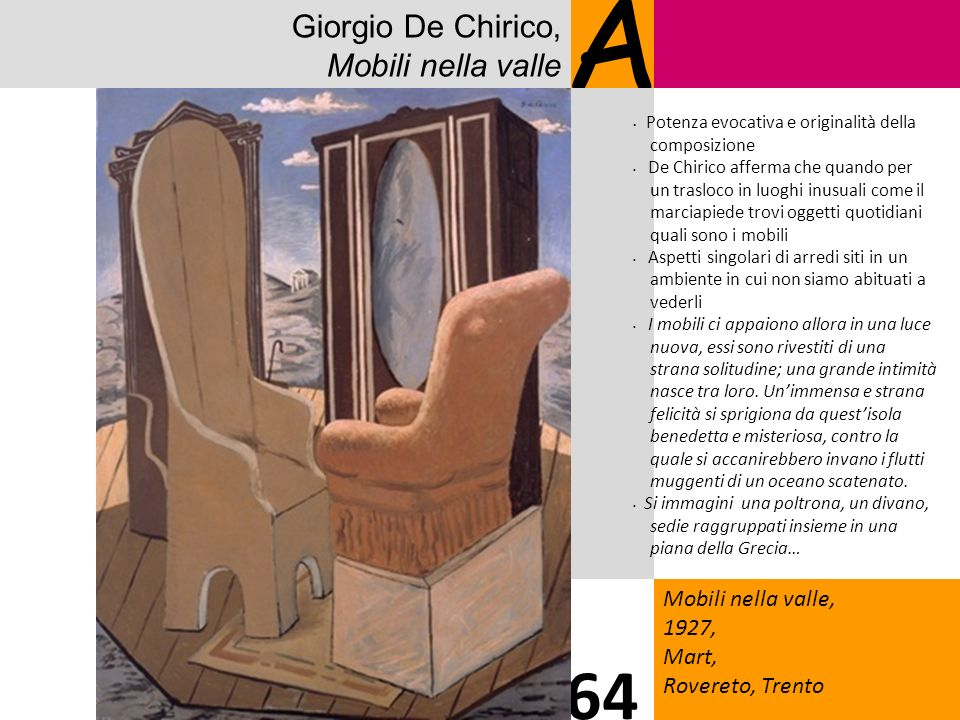 A 64 Giorgio De Chirico, Mobili nella valle Mobili nella valle, 1927,
