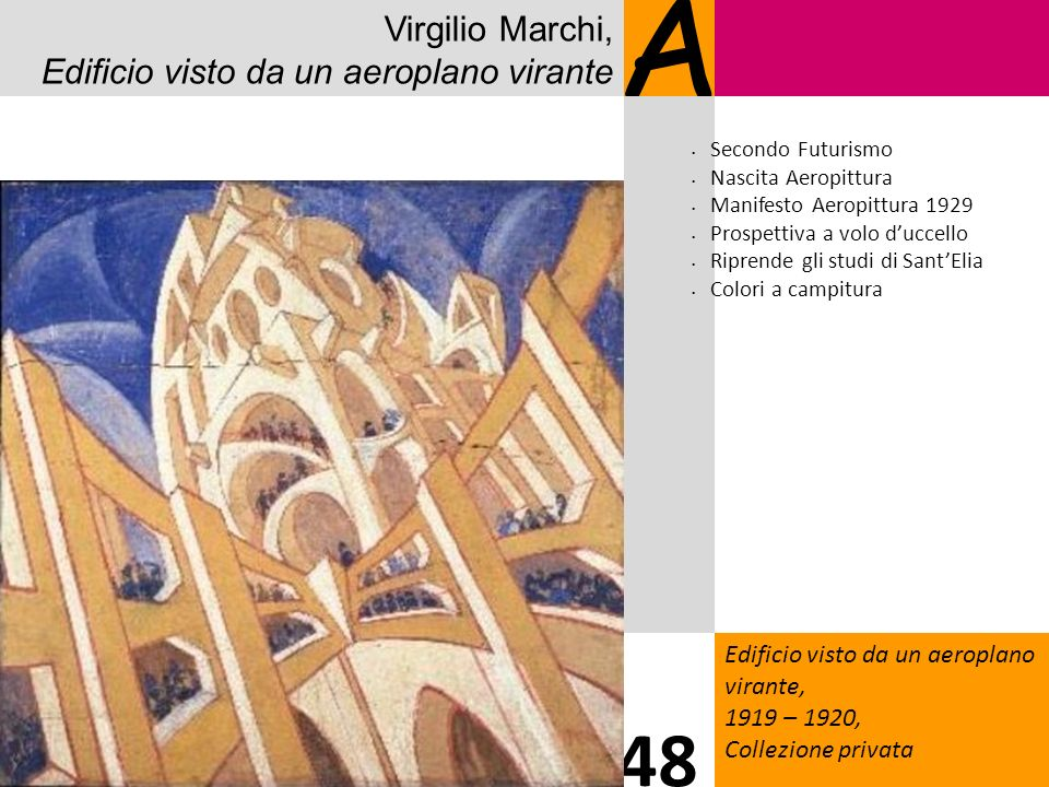 A 48 Virgilio Marchi, Edificio visto da un aeroplano virante 1414