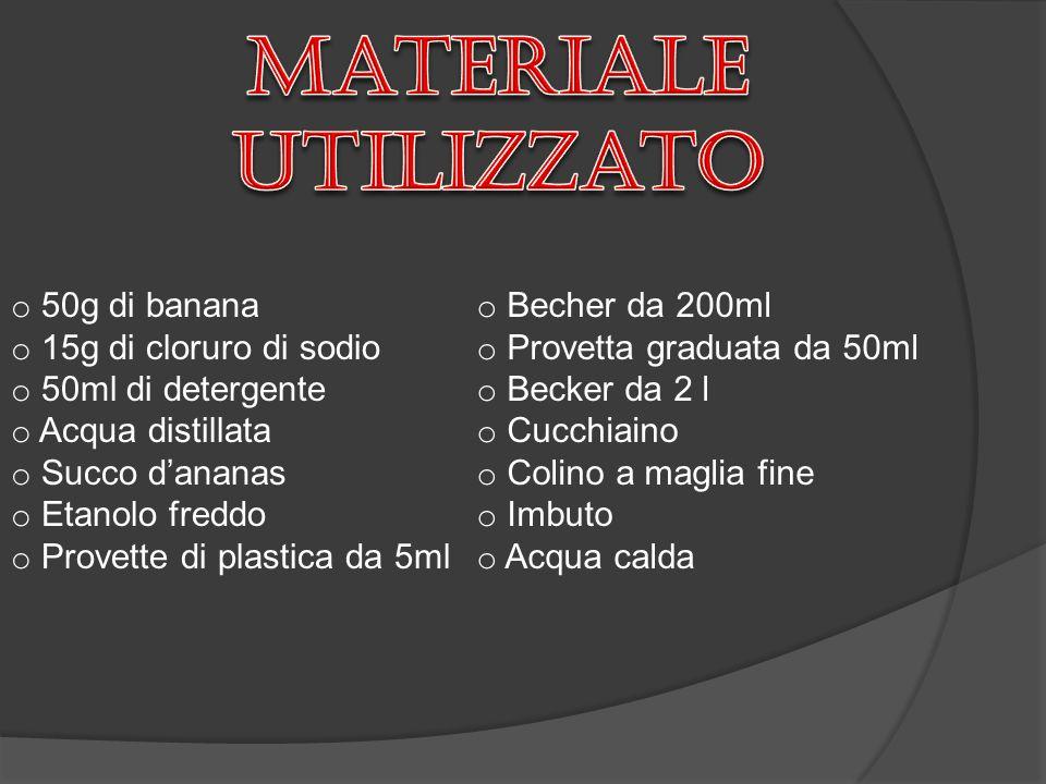 Materiale utilizzato 50g di banana 15g di cloruro di sodio